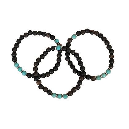 Turquoise Wood Bracelets