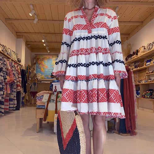 Short Kaftan Coral Dress by Pearl & Caviar