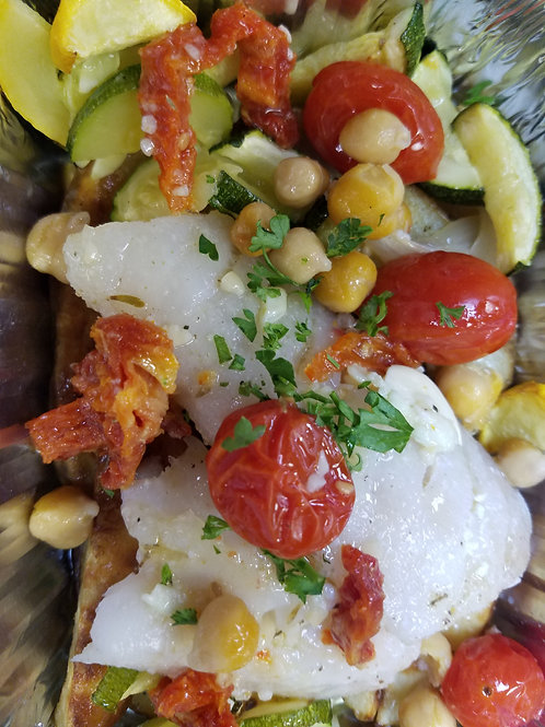 NEW! Perfect Baked Cod with Garbanzo Beans and Lemon