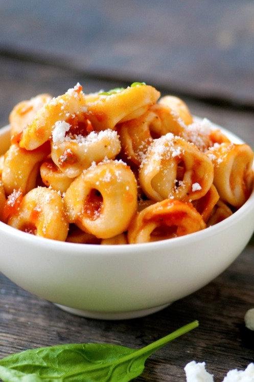 FREEZER FAVORITE: Meat Tortellini with Creamy Marinara Sauce