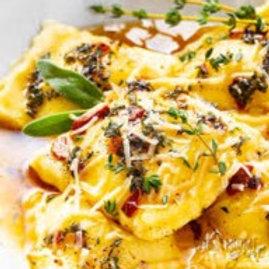 Butternut Ravioli in Browned Butter & Almonds