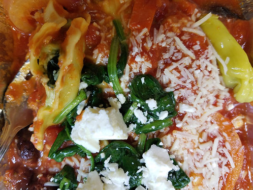 Greek Spinach and Ricotta Ravioli with Herb-Tomato Sauce