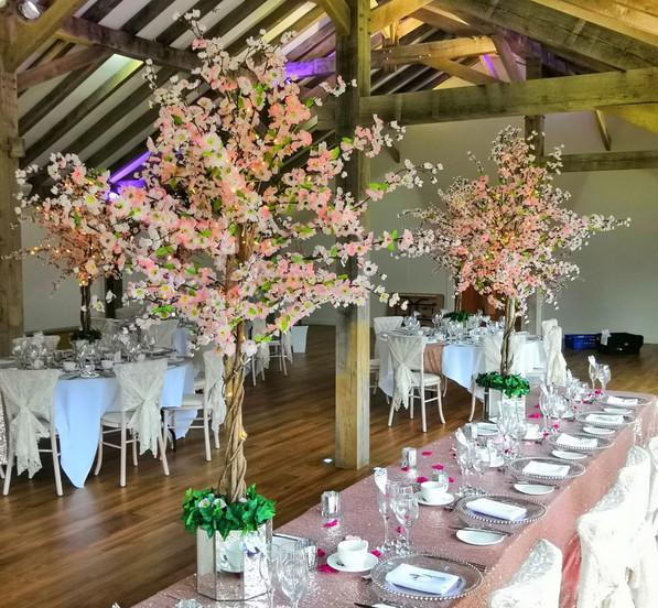 Wedding blossom tree hire centrepiece