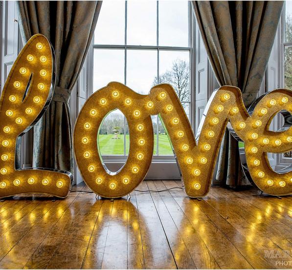 Gold Glitter Love Light Up Letters / Light Up Gold Love Letters