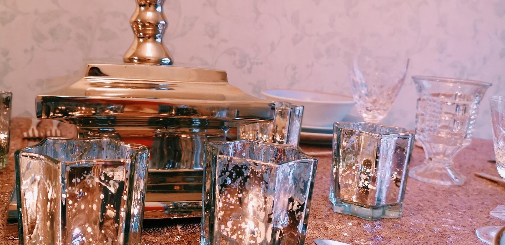 Luxury mercury tealight holders hire