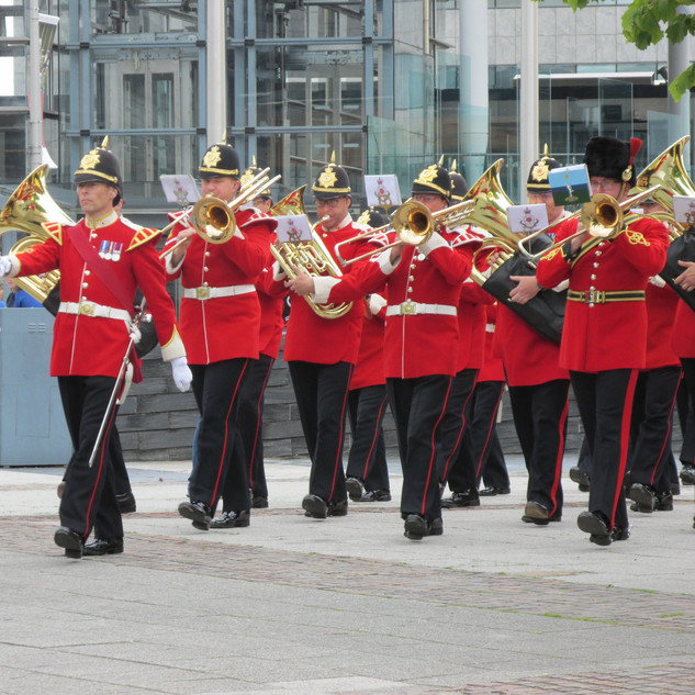 The Band of the King's Division leading the parade