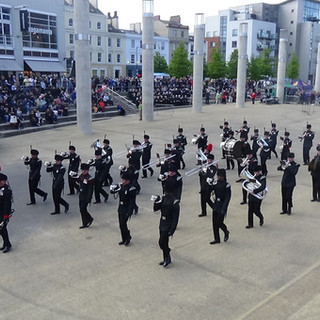 The Band and Bugles of the Rifles leaving the Roald Dahl Plass after their marching display