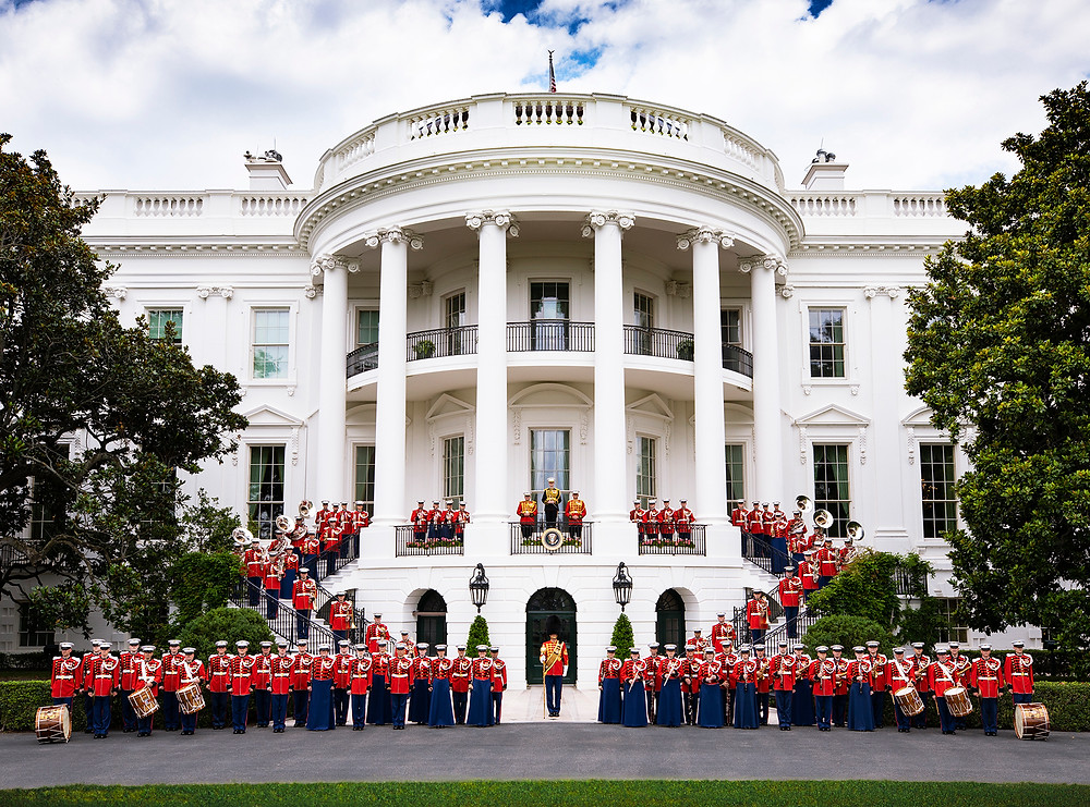 'The President's Own' United States Marine Band on the west steps of The White House in Washington DC
