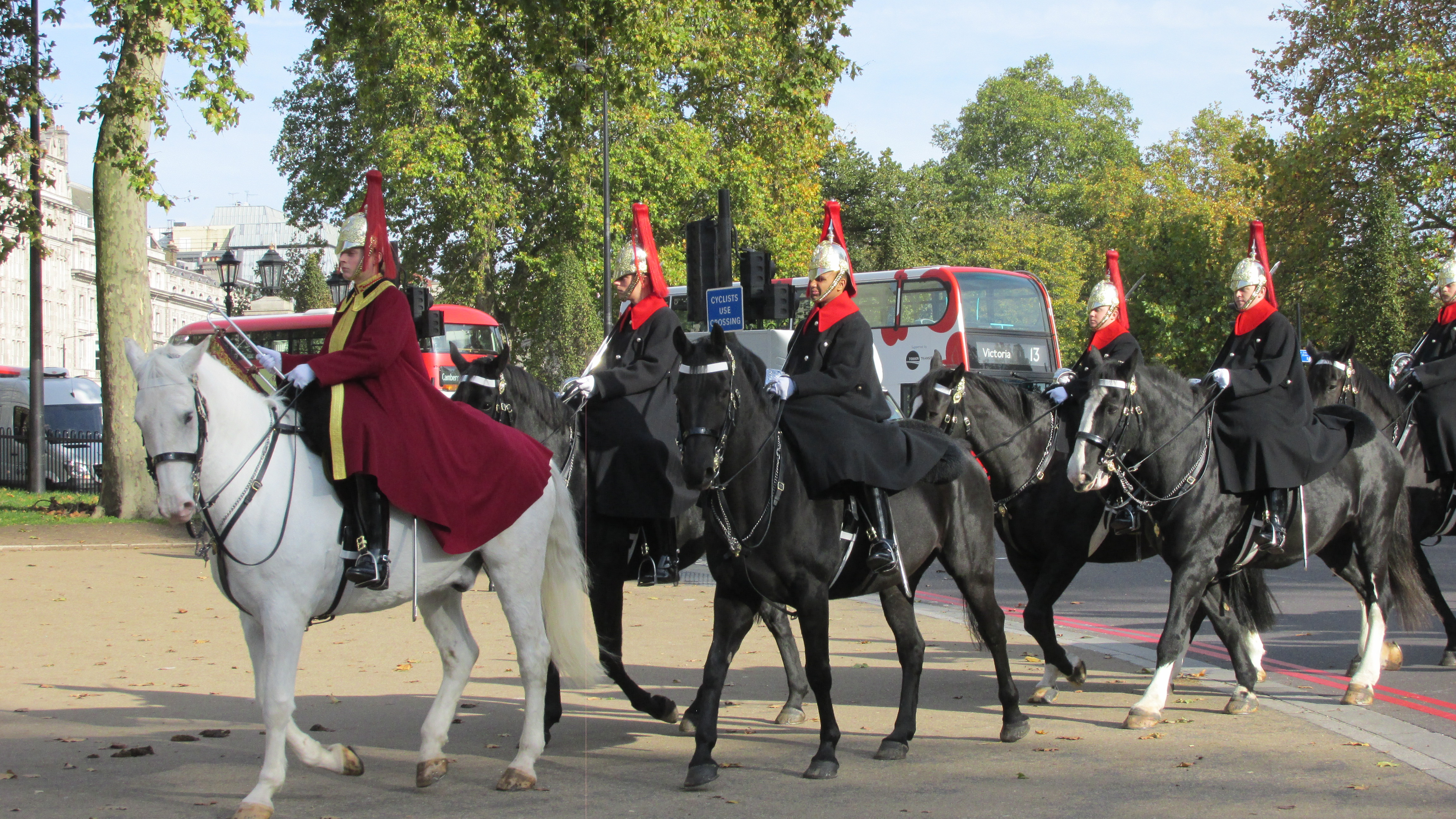 Mounted Escort and Trumpeter from the Blues and Royals