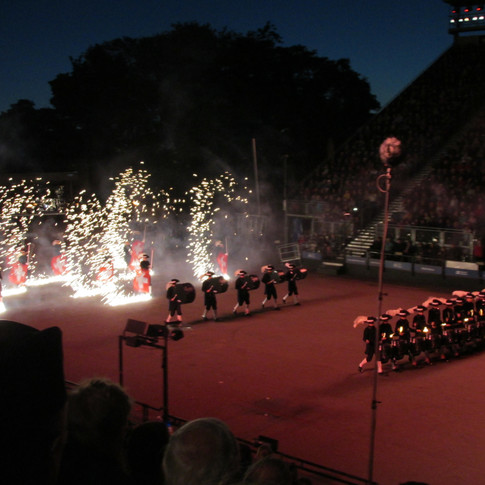 The Top Secret Drum Corps's finale, complete with Pyrotechnics, drum sticks on fire, all whilst playing!