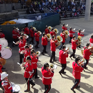 The Combined Brass Bands counter march whilst beginning Anything Goes
