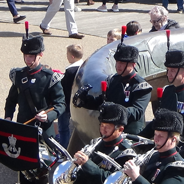 The Band and Bugles of the Rifles percussion section during 'In The Stone'