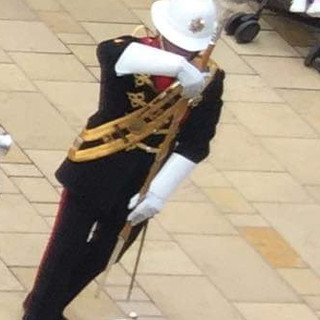 The Drum Major signalling to the band to counter march