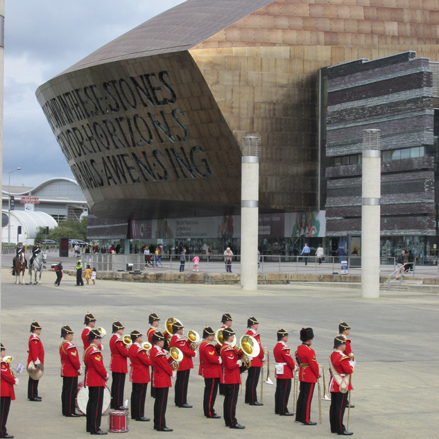 The Band of the King's Division under the shadow of the Wales Millenium Center