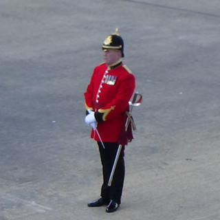 The Director of Music of the Band of the Prince of Wales's Division before he conducted the opening fanfare