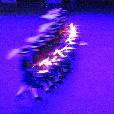 The Top Secret Drum Corps with their sticks on fire!