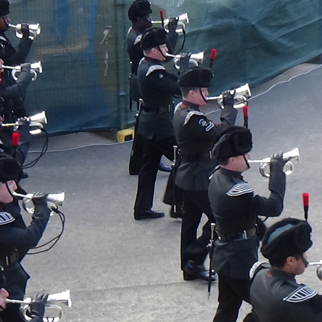 The Bugle platoon of the Band and Bugles of the Rifles march back on for the finale