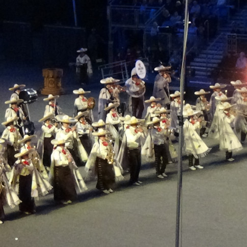 Banda Monumental De Mexico marching onto the sounds of Mariachi Music and the colours of Mexico Carnival!
