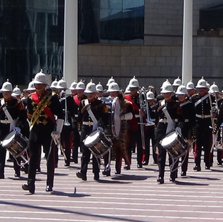 The Band of HM Royal Marines Portsmouth marching into the display