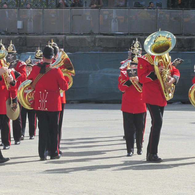 The Tubas, Baritone and Tenor Horns counter march