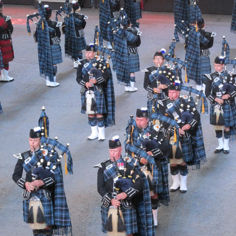 Bagpipers from the Pipers Trail. The Royal Edinburgh Military Tattoo's house pipe band