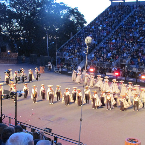 Banda Monumental De Mexico performing on the castle seplandae to the Mexican Hat Dance.