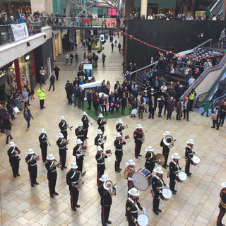 The Band of HM Royal Marines Plymouth performing for Bristol Poppy Day in Cabot Circus