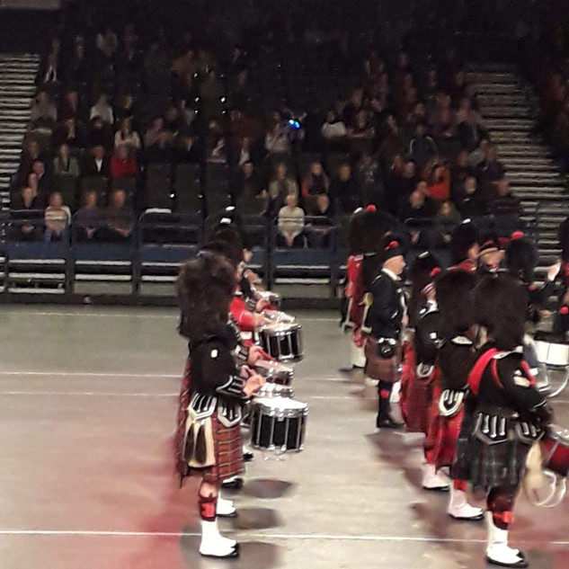 The second Snare Drum Rank of the Massed Pipes and Drums