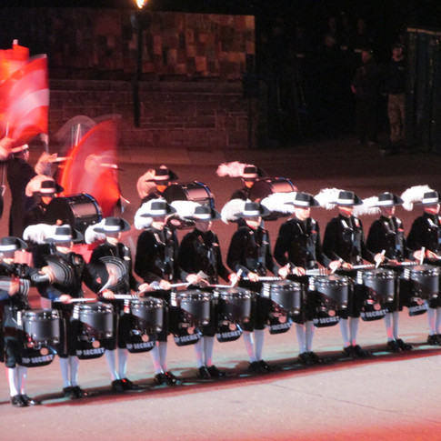 The Top Secret Drum Corps performing their 2018 display titled 'Dynamic Percussion' and with the theme of Mission I