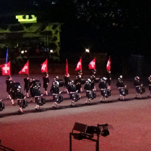 The Top Secret Drum Corps from Basel marching down the Edinburgh Esplanade at the beginning of their display