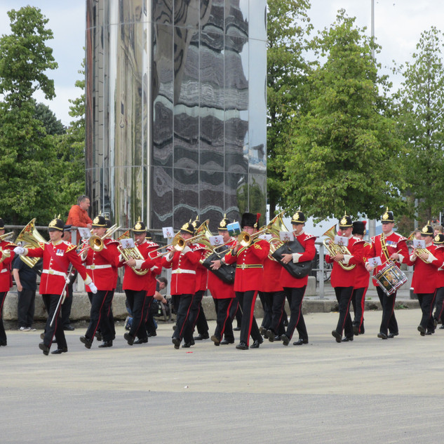The Band of the King's Division marching onto the Roal Dahl Plass