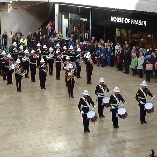 An arieal shot of The Band of HM Royal Marines Plymouth and their Drum Corps