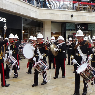 The Band of HM Royal Marines Plymouth counter marching to The National Emblem March