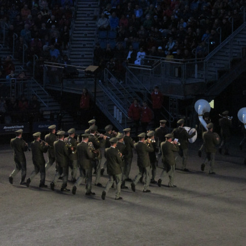 The Central Band of the Czech Armed Forces marching out of the arena