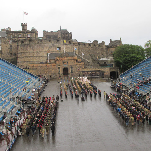The Massed Bands and Pipes and Drums, joining toghether, playing 'The Sky's The Limit'