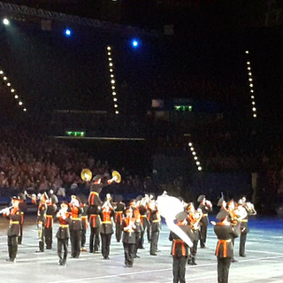 The Moscow Military Cadets Band performing their world famous manouvre of lifting their cymbal player up on the shoulders of other band members!