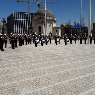 The Band of HM Royal Marines Portsmouth performing Brittanic Salute
