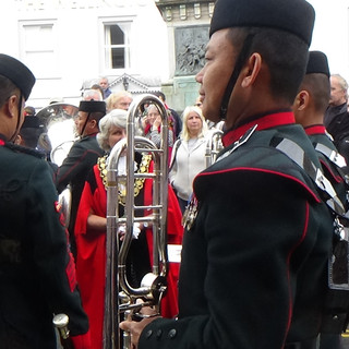 The Town Mayor of Brecon meeting members of The Gurkha Trombone Section
