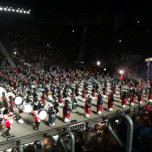 The Massed Pipes and Drums marching off the the traditional 'Black Bear' and 'Scotland the Brave'