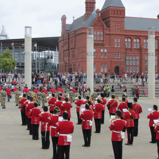 The Band of the King's Division performing the General Salute at the start of the parade