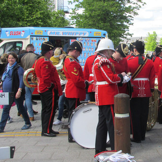 Mmebers of The Royal Welsh Band before their performance