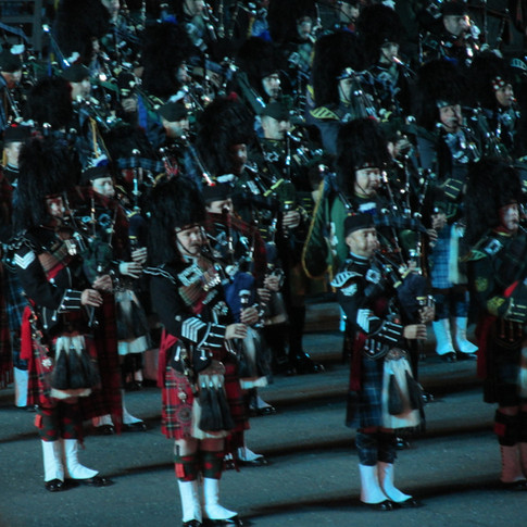 The Massed Pipes and Drums performing for the second time during the performance. Pictured are members of The 1st Battalion Socts Guards Pipes and Drums and The Pipers Trail