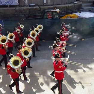 The Bands of the Royal Welsh and Prince of Wales's Division with an impressive 8 Tubas marching onto the 'Longest Day'