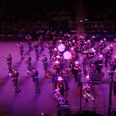 The Tri-Service Bands combineng to the march 'The Ride of the Valkyries by Wagner