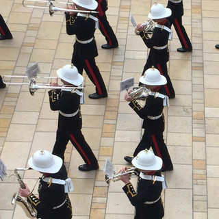 The Trombone, Saxophone, French Horn and Cornet sections of The Band of HM Royal Marines Plymouth