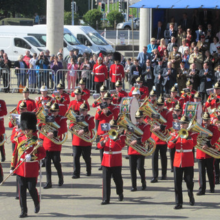 The Combined Brass Band marching off to Men of Harlech