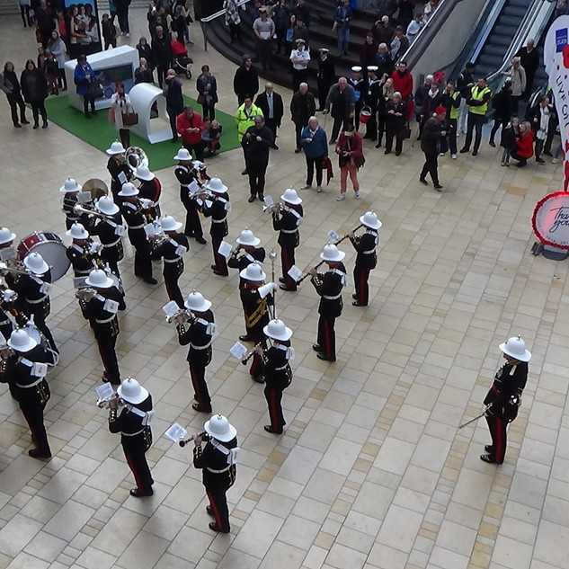The Band of HM Royal Marines Plymouth counter marching to HM Jollies