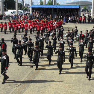 The Band and Bugles of the Rifles marching of parade for the final time during the festival