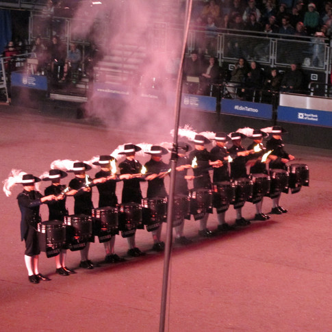 The Top Secret Drum Corps after finishing their display