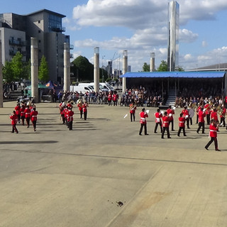 The combined brass bands perform the bomb burst monouevre